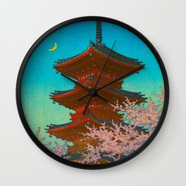 Vintage Japanese Woodblock Print Pastel Colors Blue pink Teal Shinto Shrine Cherry Blossom Tree Wall Clock