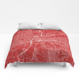 Dayton Map, USA - Red Comforters