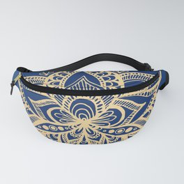 Gold and Blue Lotus Flower Mandala Fanny Pack