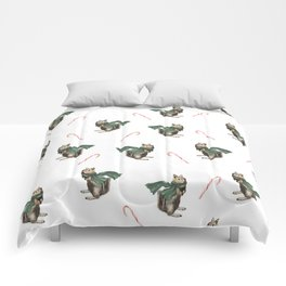 Winter Chipmunk and Candy Canes Comforters