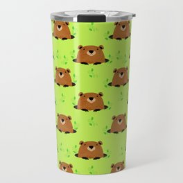 Adorable Groundhog Pattern Travel Mug