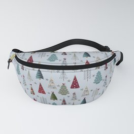 Scandinavian Christmas Trees Pattern - Blue Red Green Fanny Pack