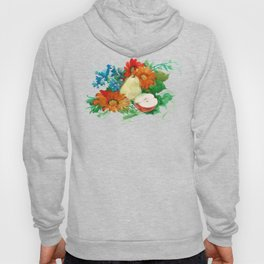 Watercolor Flowers and Fruits. Pear, Apple, and Flowers. Gerbera Daisies Hoody