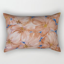 mosaic flowers with blue Rectangular Pillow