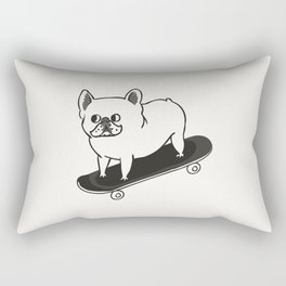 Skateboarding French Bulldog Rectangular Pillow