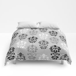 Heart Damask Art I Black White Greys Comforters