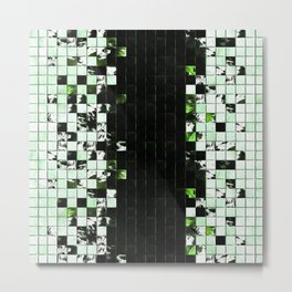 Green Accent Black And White Square Tiled Ceramic Mosaic Pattern Metal Print