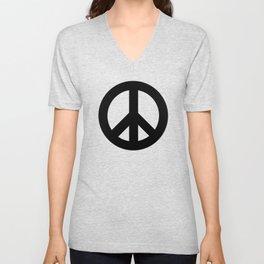 Black on White CND Peace Symbol Unisex V-Neck