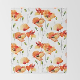 Hand Painted orange yellow watercolor poppies floral Throw Blanket
