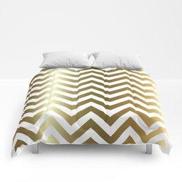 Gold Foil Chevron Pattern Comforters