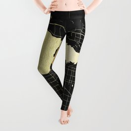 Vancouver Canada Black and Gold Map Leggings