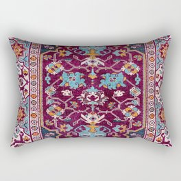 Romanian  Antique  Double Niche Carpet Rectangular Pillow