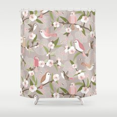 Blossom and birds Shower Curtain