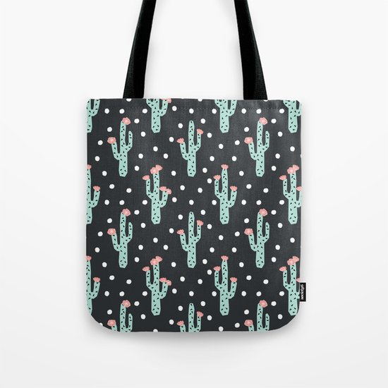 Cactus flowers southwest desert pattern minimal modern geometric children kids dorm college Tote Bag