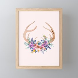 Antlers with Flowers Framed Mini Art Print