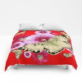 CHINESE RED BUTTERFLIES & PINK HOLLYHOCKS ART Comforters