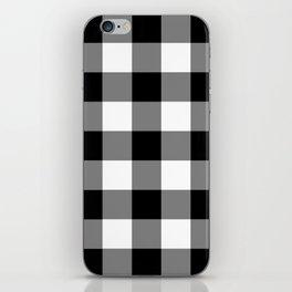 Black and White Buffalo Plaid iPhone Skin