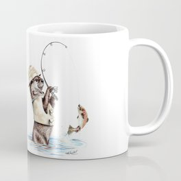 """ Natures Fisherman "" fishing river otter with trout Coffee Mug"