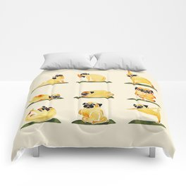 Pug Yoga Watercolor Comforters