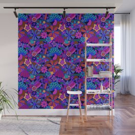 70's Psychedelic Garden in Cool Jeweltone Wall Mural