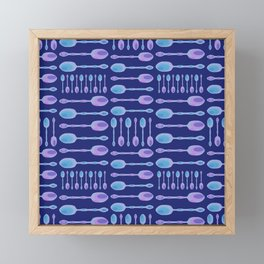 Unique Artsy Spoons! (Dark Blue) Framed Mini Art Print