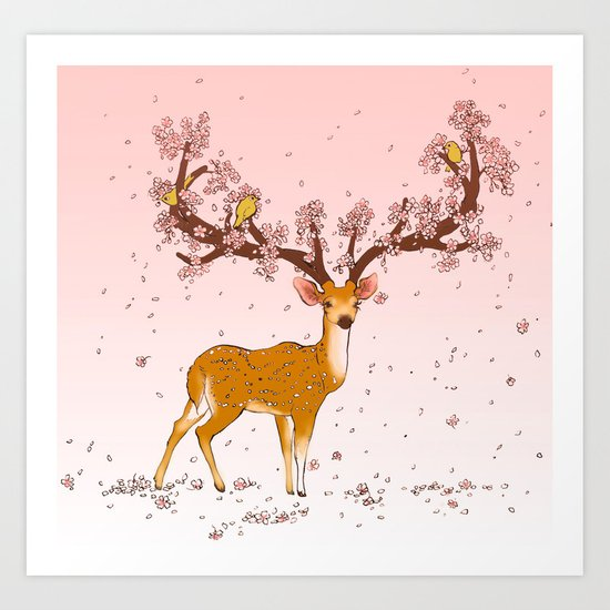 Blooming stag Art Print