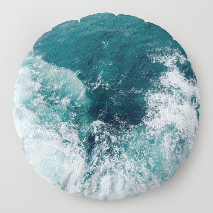 Ocean Waves (Teal) Floor Pillow