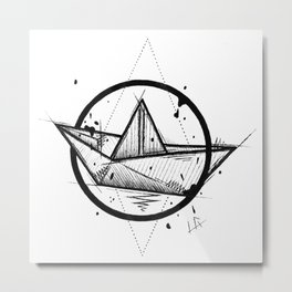 Paper Boat Handmade Drawing, Made in pencil and ink, Tattoo Sketch, Tattoo Flash, Blackwork Metal Print