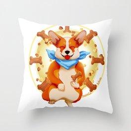 Zen corgi Throw Pillow