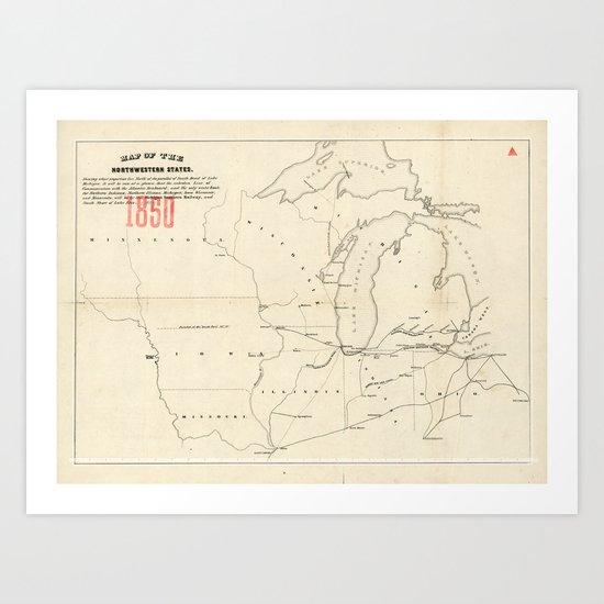 Railroad & The Northwestern States in 1850 Art Print