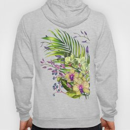 Bouquet, Orchid, Bud, Leaf Clipart, watercolor, handpainted, floral, flower, design, style, troical Hoody