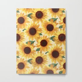Happy Yellow Sunflowers Metal Print
