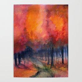 Nighttime Autumn Landscape Nature Art Poster
