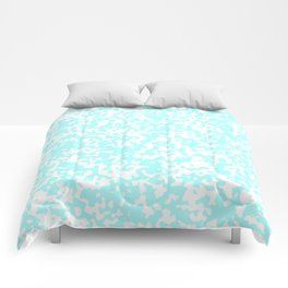 Small Spots - White and Celeste Cyan Comforters