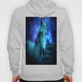 Teal Horse Blue Violet Galaxy Skies Hoody