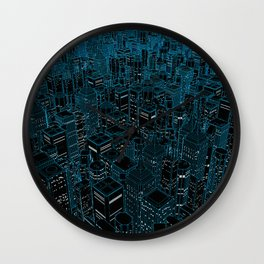 Night light city / Lineart city in blue Wall Clock
