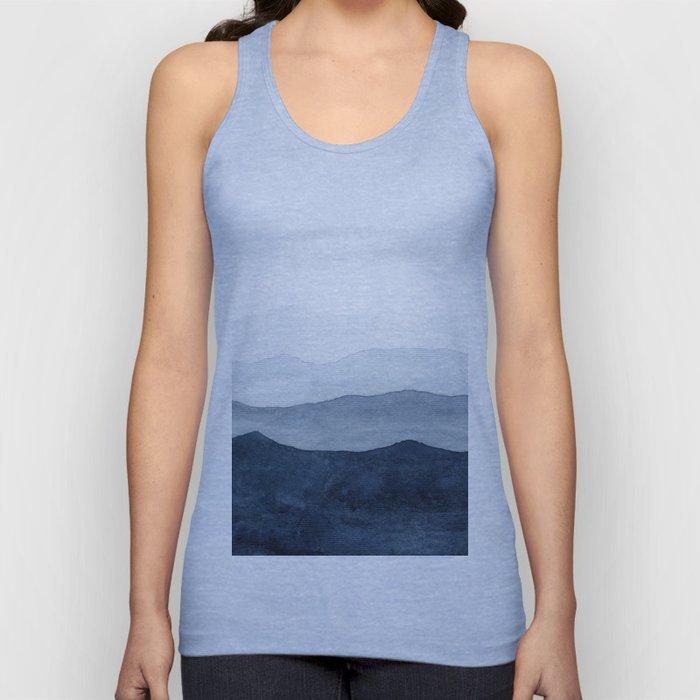 Indigo Abstract Watercolor Mountains Unisex Tank Top