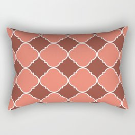 Living Coral and Mauve Moroccan Tile Ornamental Pattern with White Border Rectangular Pillow