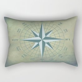 Compass Graphic on Grey Textured background Rectangular Pillow