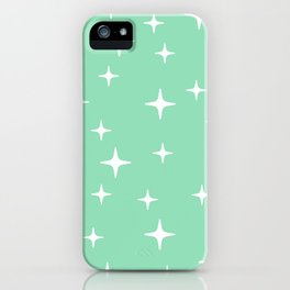 Mid Century Modern Star Pattern 443 Mint Green iPhone Case