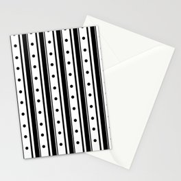 Black Stripes and Dots Stationery Cards