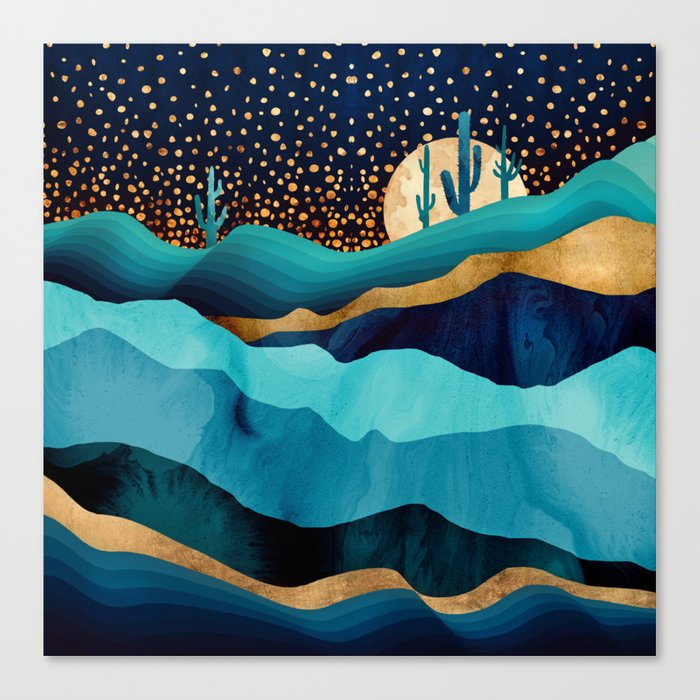 Indigo Desert Night Leinwanddruck