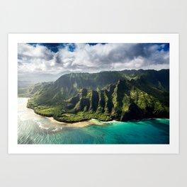 Na Pali Coast Aerial of Kauai Hawaii Art Print
