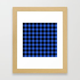 Royal Blue and Black Lumberjack Buffalo Plaid Fabric Framed Art Print