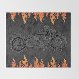 Motorcycle & Orange Flames Throw Blanket