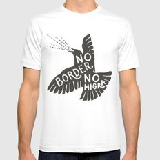 No Border No Migra White Mens Fitted Tee 2X-LARGE