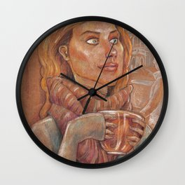 Winter meditaion in a tea house Wall Clock