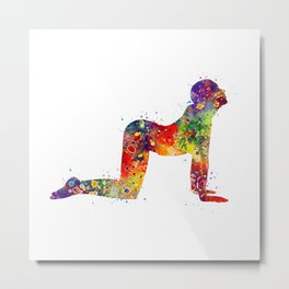 Yoga Pose Art Gift Cow Pose Bitilasana Meditation Art Fitness Art Metal Print