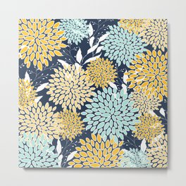Floral Prints and Leaves, Navy Blue, Yellow, Aqua Metal Print