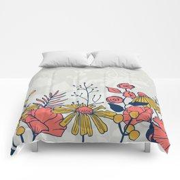 Coral Blooms Border Comforters